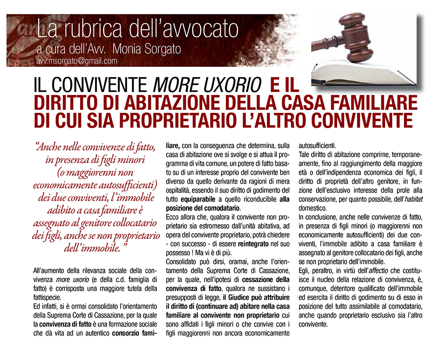 Informabano il convivente more uxorio e il diritto di - Casa in comproprieta e diritto di abitazione ...